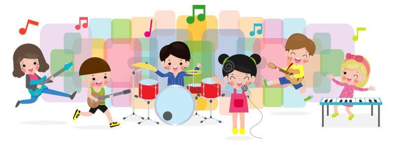 Grupo de niños que tocan los instrumentos musicales, niños de baile de la historieta, diversas acciones del músico lindo del niño stock de ilustración