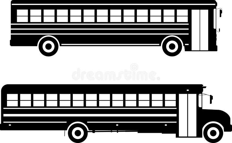 Grupo de ônibus escolares diferentes das silhuetas isolados no fundo branco no estilo liso Ilustração do vetor ilustração royalty free