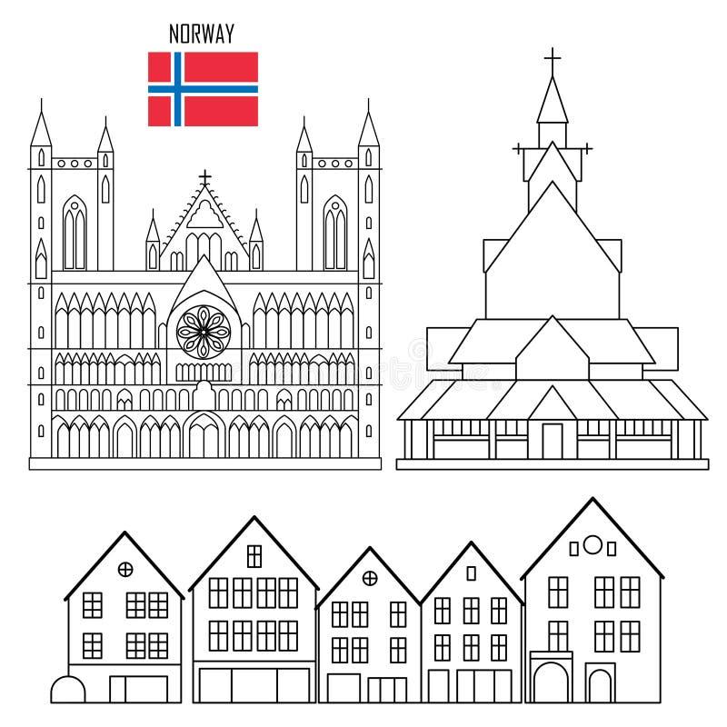 Grupo de Noruega de ícones do marco ilustração royalty free