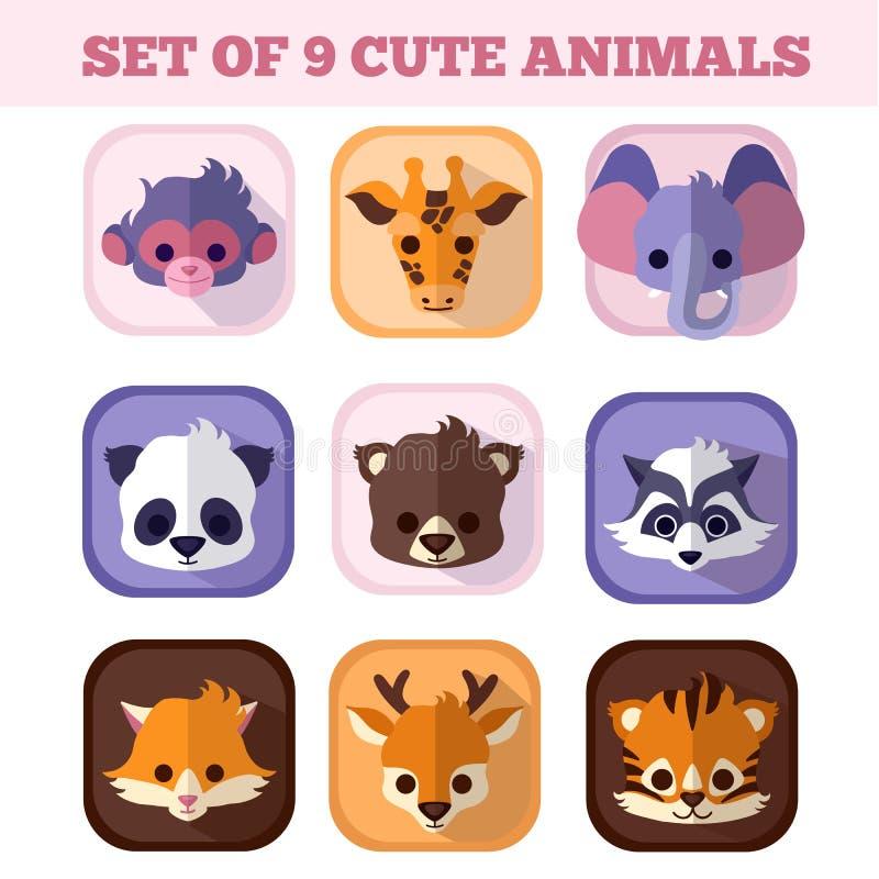 Grupo de nove ícones lisos dos animais bonitos foto de stock