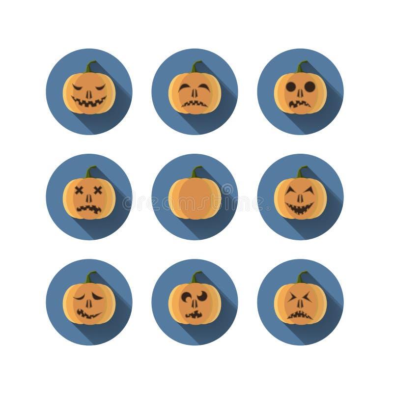 Grupo de nove abóboras com as emoções lisas ilustração stock