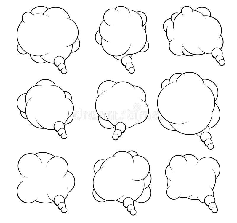 Grupo de nove bolhas de fala do vetor para seu projeto ilustração stock