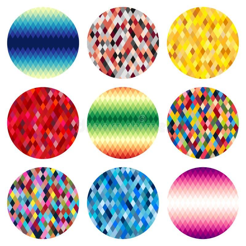 Grupo de nove círculos coloridos dos rombos isolados no fundo branco ilustração do vetor