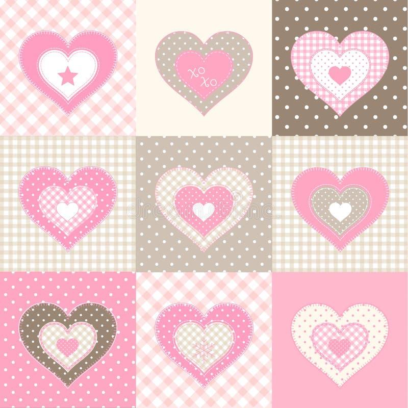 Grupo de nove corações cor-de-rosa no estilo country, ilustração ilustração stock