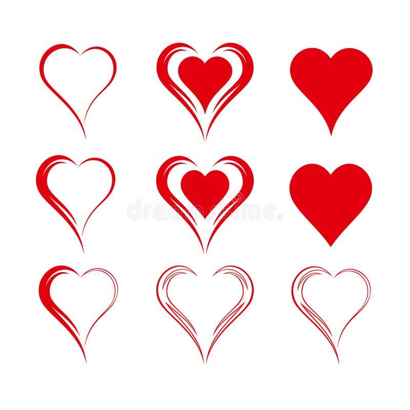 Grupo de nove corações isolados simples do vetor ilustração stock