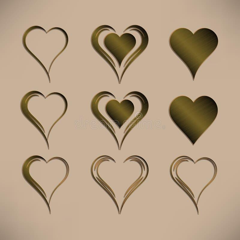 Grupo de nove corações isolados simples do vetor com teste padrão metálico de bronze ilustração do vetor