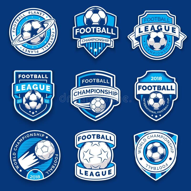 Grupo de nove crachás do futebol Emblemas do futebol Símbolo da coleção do futebol ilustração royalty free