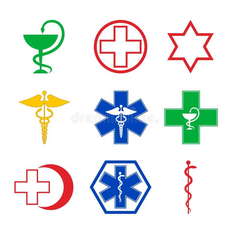 Grupo de nove emblemas médicos ilustração do vetor