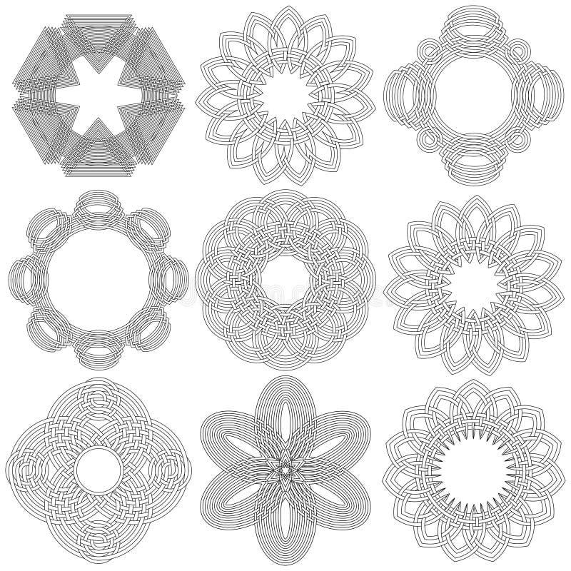 Grupo de nove estêncis circulares pretos ilustração royalty free