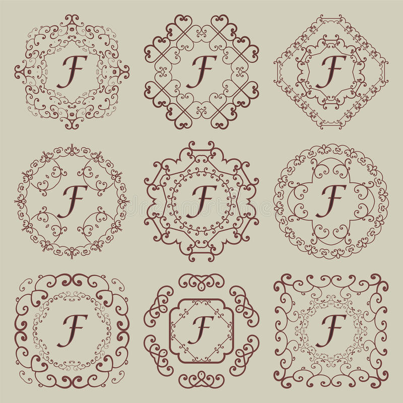 Grupo de nove monogramas do vintage fotografia de stock royalty free
