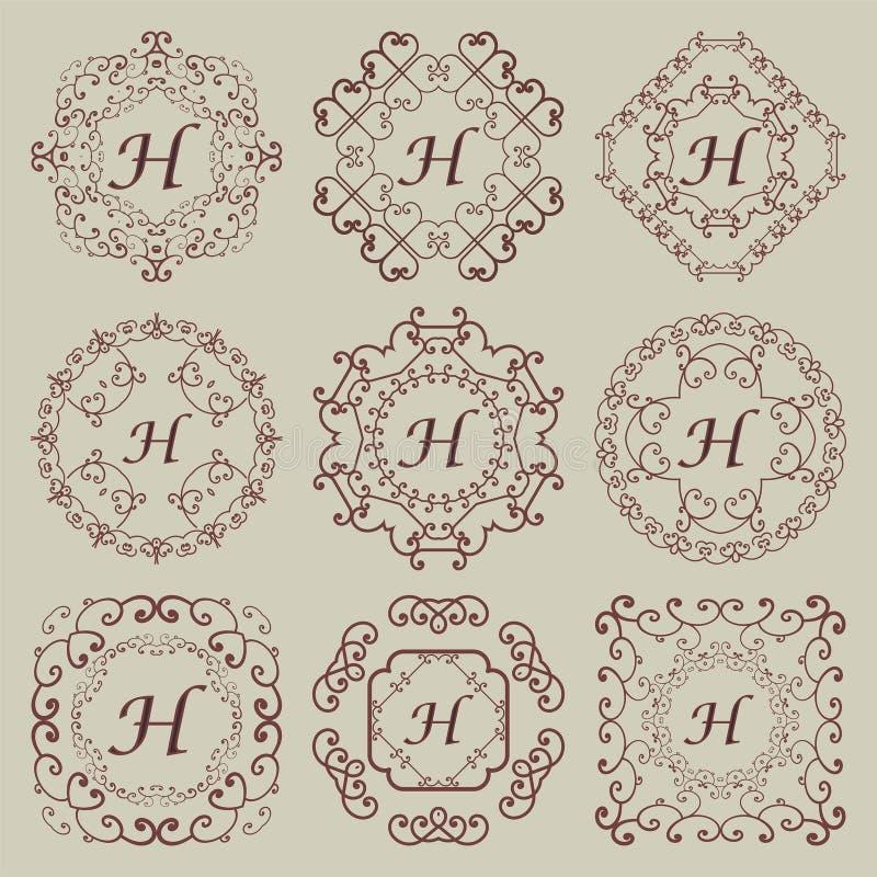 Grupo de nove monogramas do vintage fotografia de stock