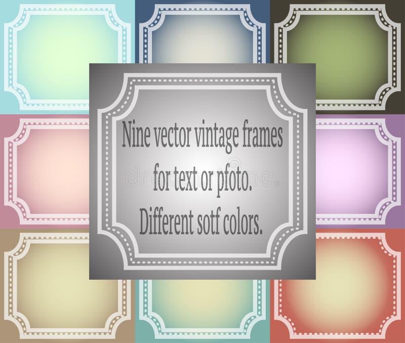 Grupo de nove quadros do vintage do vetor Cores macias diferentes ilustração stock