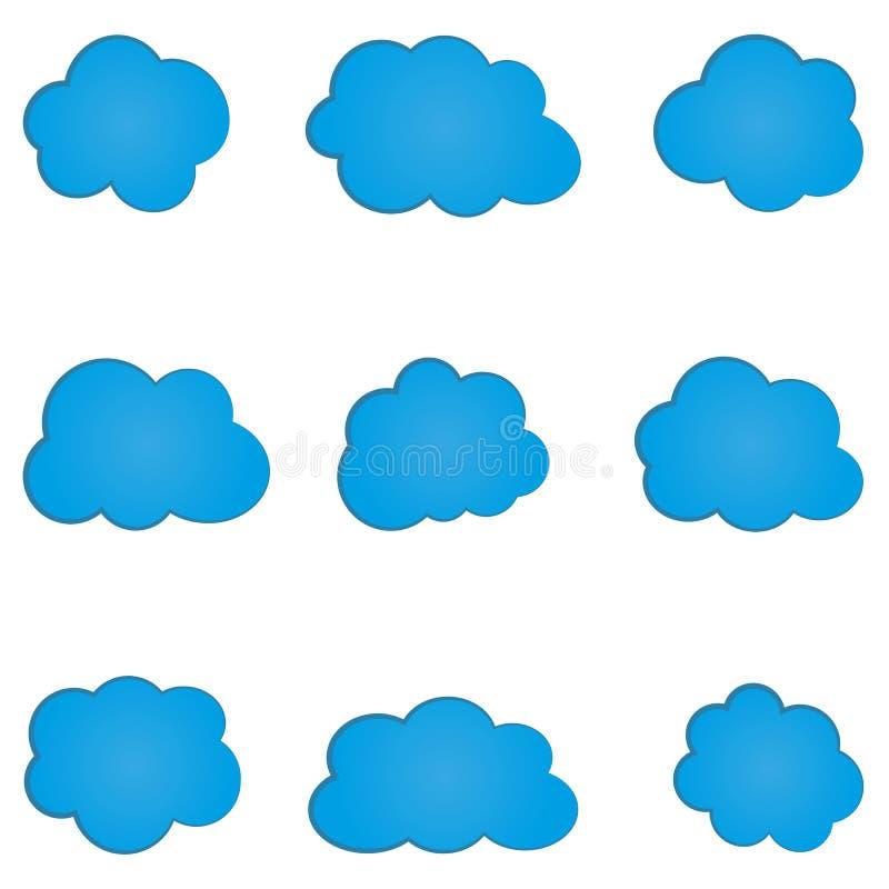 Grupo de nuvem azul abstrata simples Nove elementos ilustração royalty free
