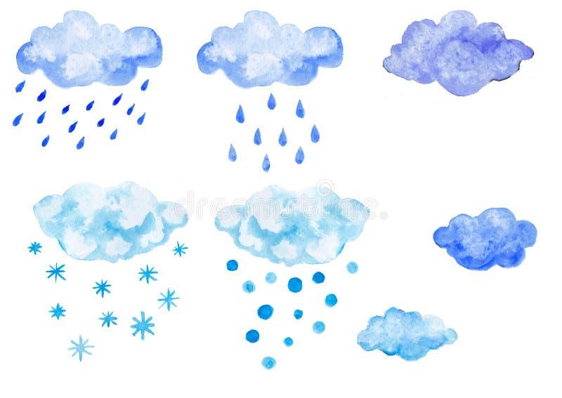 Grupo de nuvens azuis da aquarela com precipitação fotos de stock