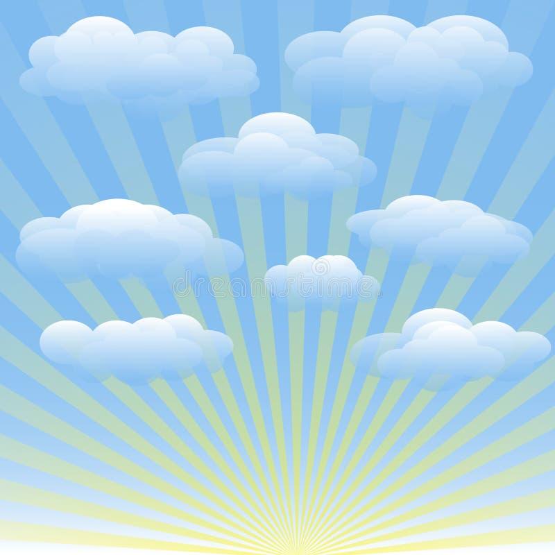 Grupo de nuvens, céu azul do vetor, raios de sol ilustração stock