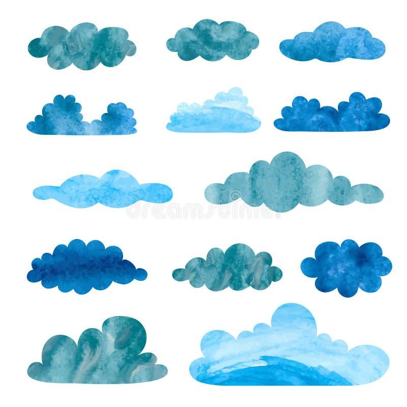Grupo de nuvens chuvosas da aquarela ilustração stock