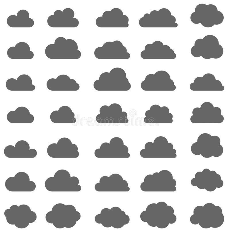Grupo de nuvens cinzentas isoladas no fundo branco ilustração stock