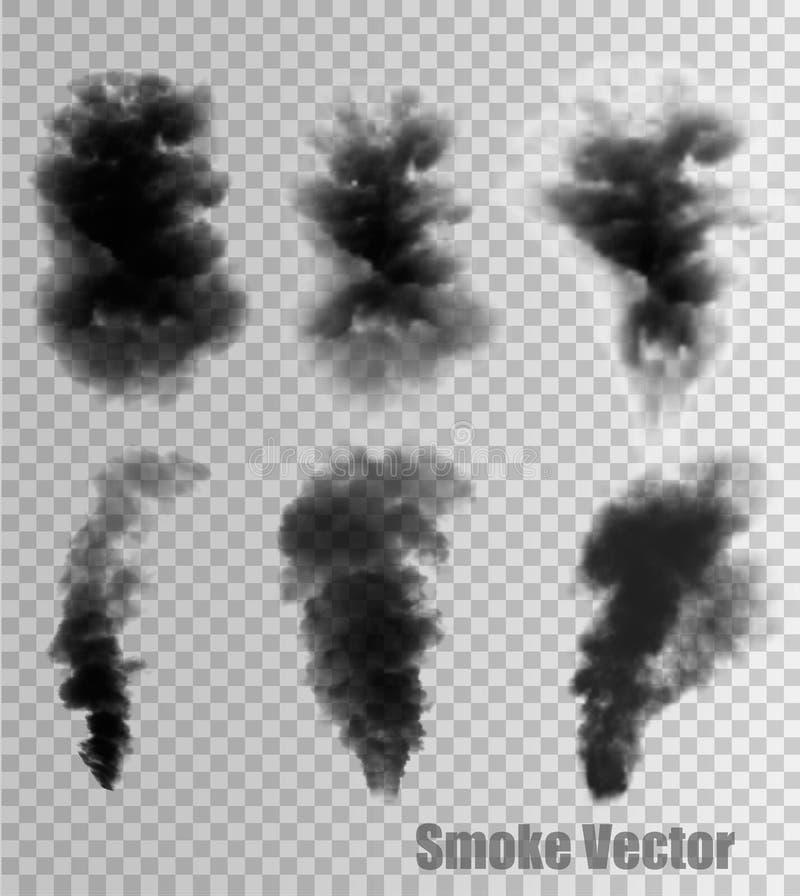 Grupo de nuvens e de fumo transparentes ilustração do vetor