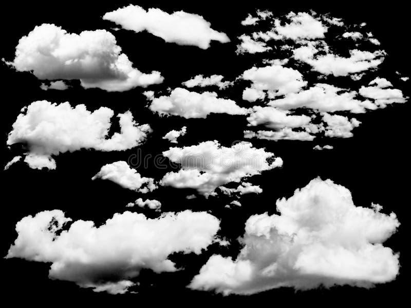 Grupo de nuvens isoladas sobre o preto foto de stock