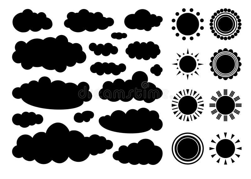 Grupo de nuvens monocromáticas e de sóis isolados no fundo branco Vetor ilustração do vetor