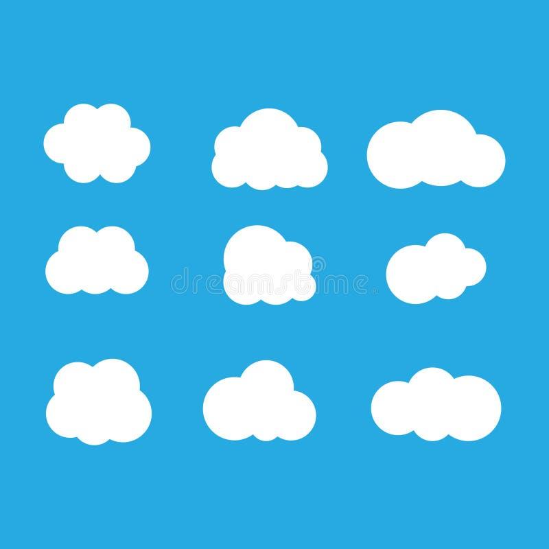 Grupo de nuvens no céu azul Forma do ícone da nuvem Coleção de nuvens diferentes, etiqueta, símbolo Elemento gráfico do projeto d ilustração royalty free