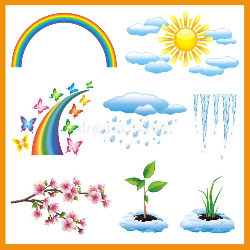Grupo de objeto da natureza da mola, ícone do vetor ilustração royalty free