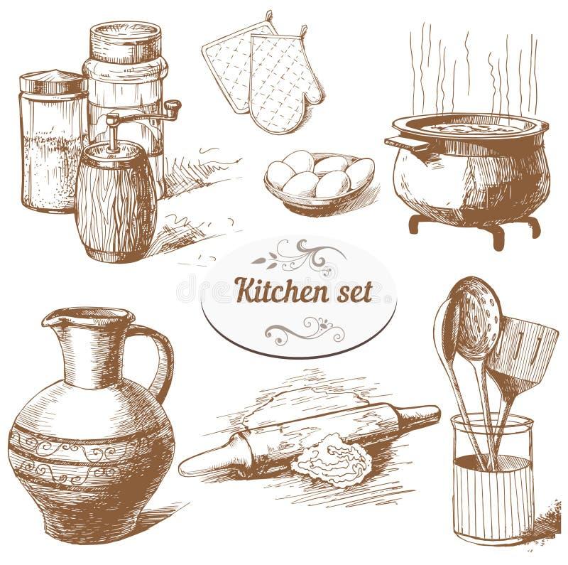 Grupo de objetos da cozinha ilustração royalty free