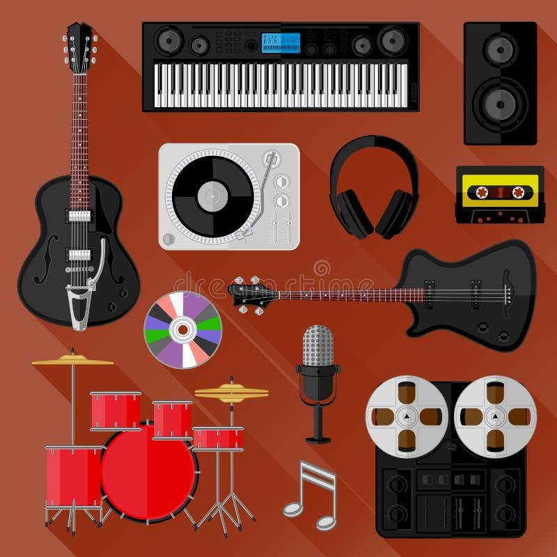 Grupo de objetos da música e do som Projeto liso ilustração royalty free
