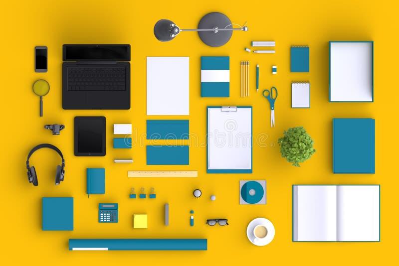 Grupo de objetos do escritório da placa da variedade organizados para a apresentação da empresa ou a identidade de marcagem com f ilustração stock