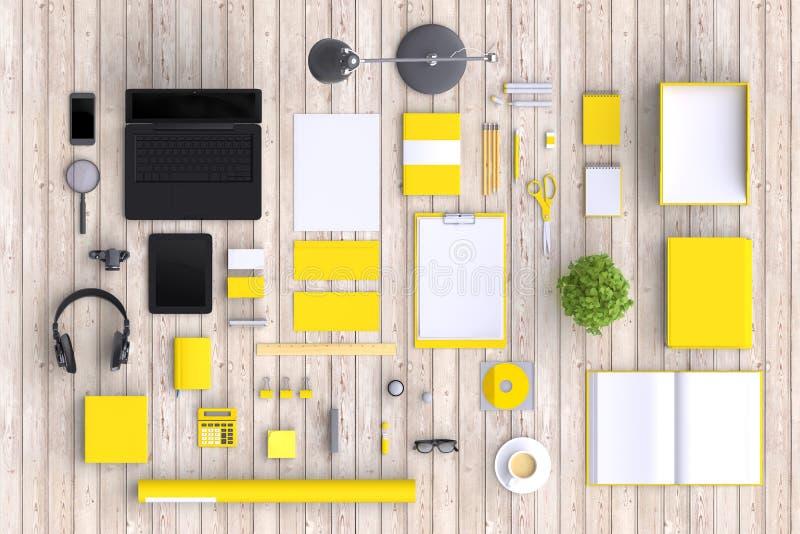 Grupo de objetos do escritório da placa da variedade organizados para a apresentação da empresa ou a identidade de marcagem com f ilustração do vetor