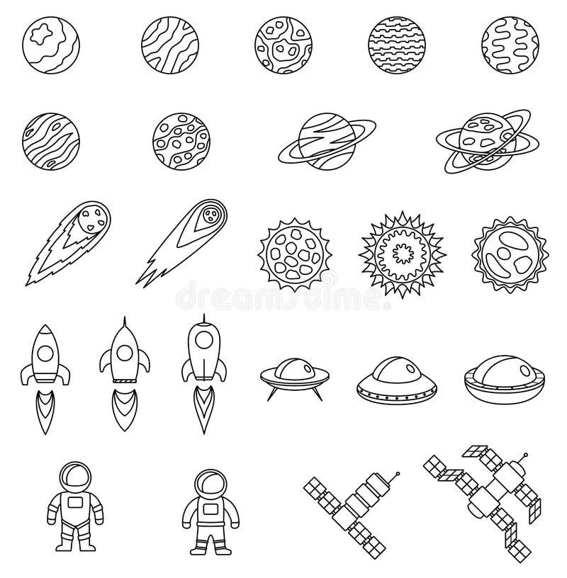 Grupo de objetos do espaço Planetas, estrelas, cometa, nave espacial, UFO, estações cósmicas, astronauta ilustração do vetor
