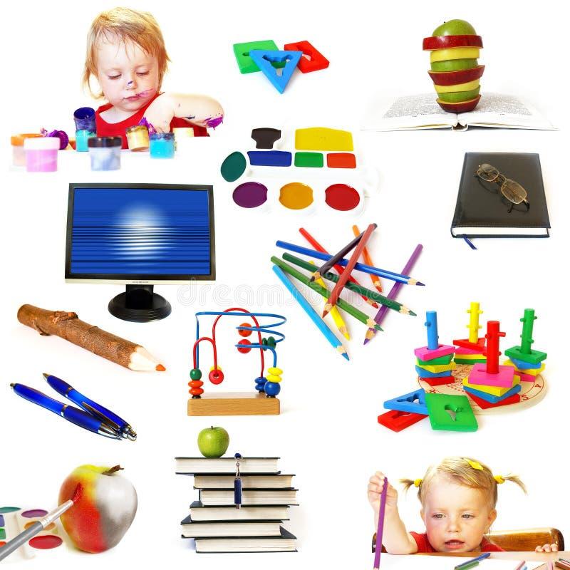 Grupo de objetos do tema da instrução imagens de stock
