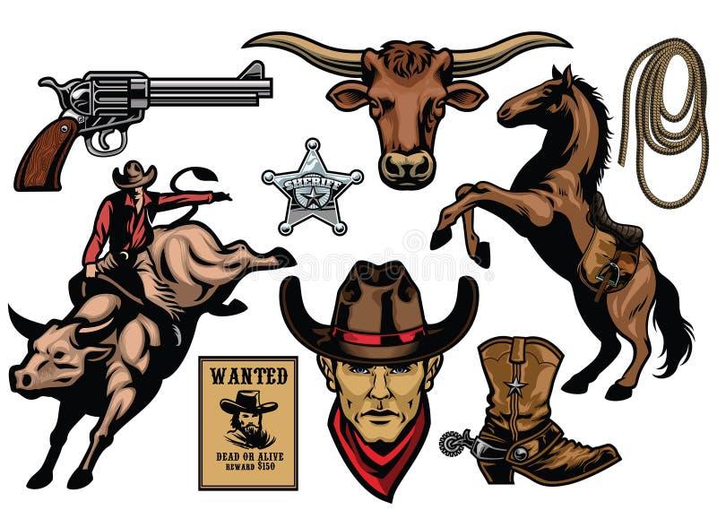 Grupo de objetos do vaqueiro ilustração royalty free