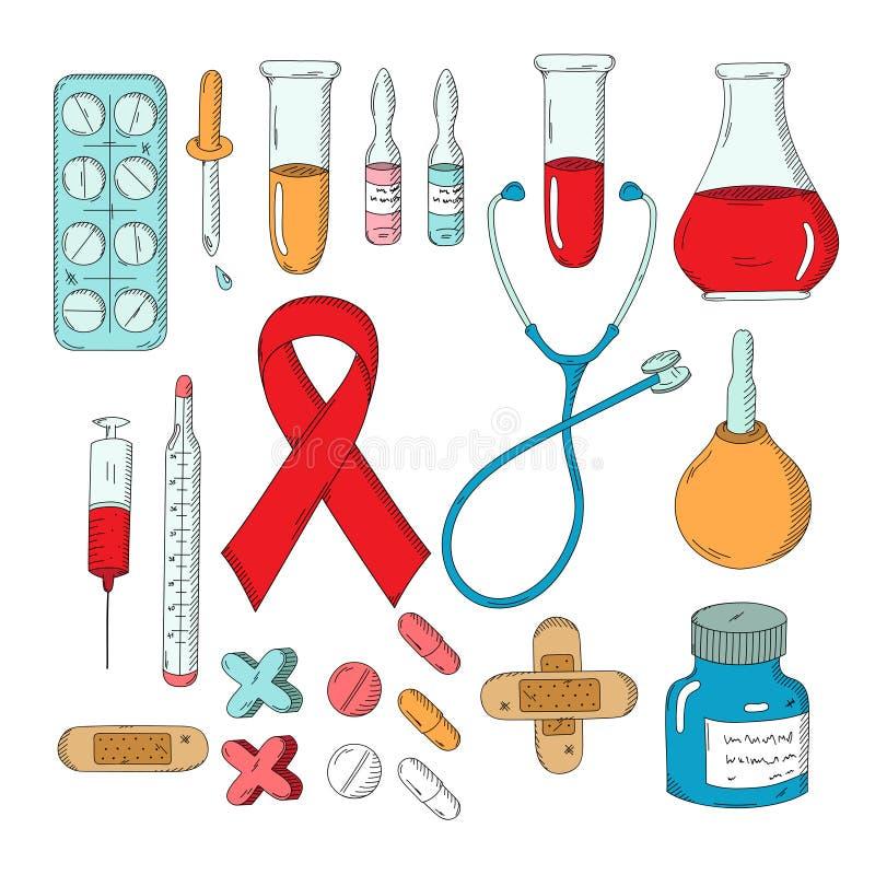 Grupo de objetos médicos tirados mão ilustração royalty free