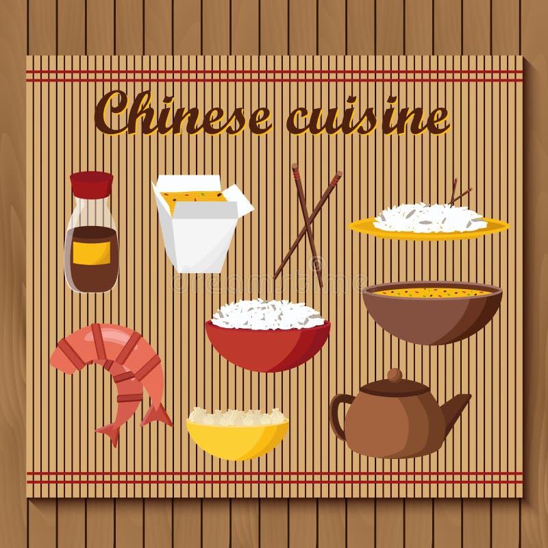 Grupo de objetos no tema chinês da culinária ilustração royalty free