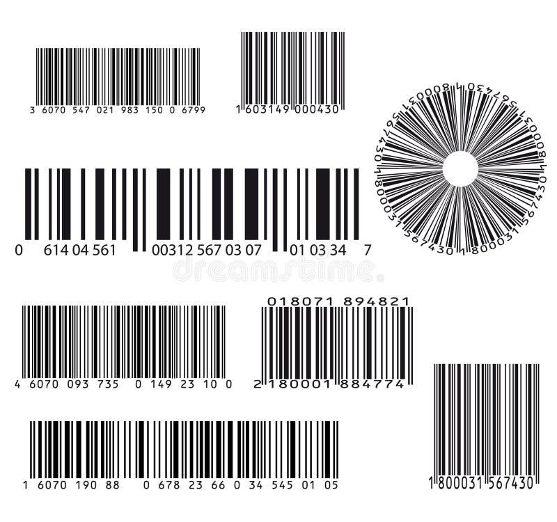 Grupo de oito códigos de barras ilustração do vetor