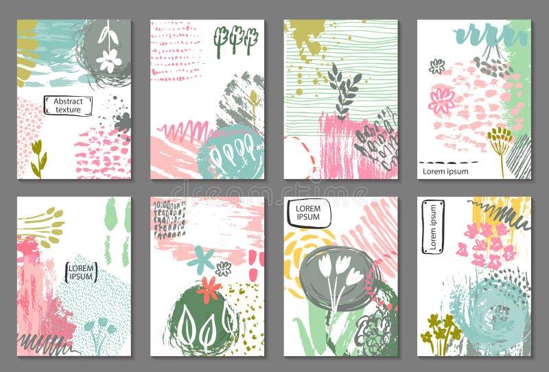 Grupo de oito cartões com textura abstrata tirada mão da tinta e motivo floral da natureza ilustração do vetor