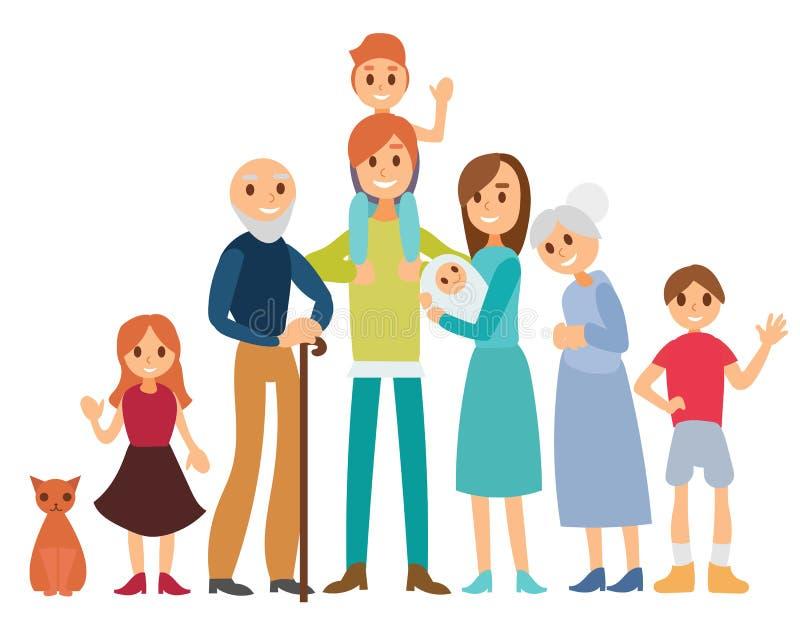 Grupo de oito membros da família felizes isolados no fundo branco ilustração stock