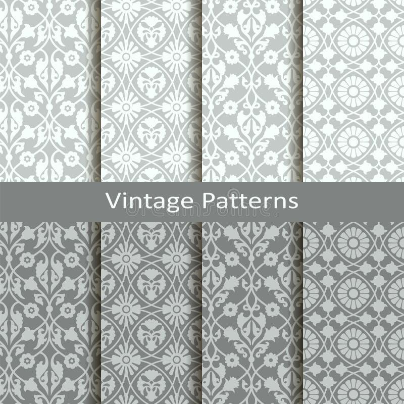 Grupo de oito testes padrões do árabe do vintage do vetor projeto para empacotar, tampas, matéria têxtil ilustração stock