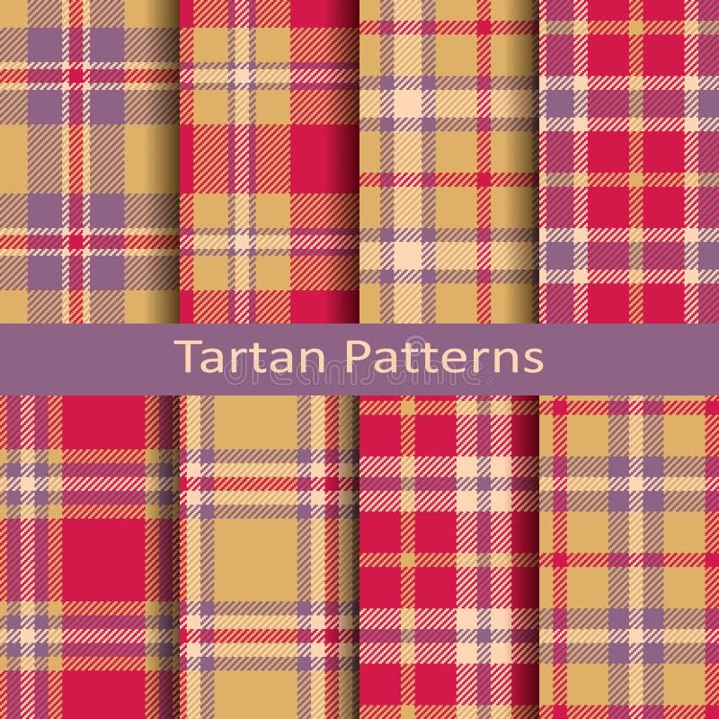 Grupo de oito testes padrões sem emenda do quadrado da tartã do vetor projete para a matéria têxtil, tampas, empacotando, Natal ilustração do vetor
