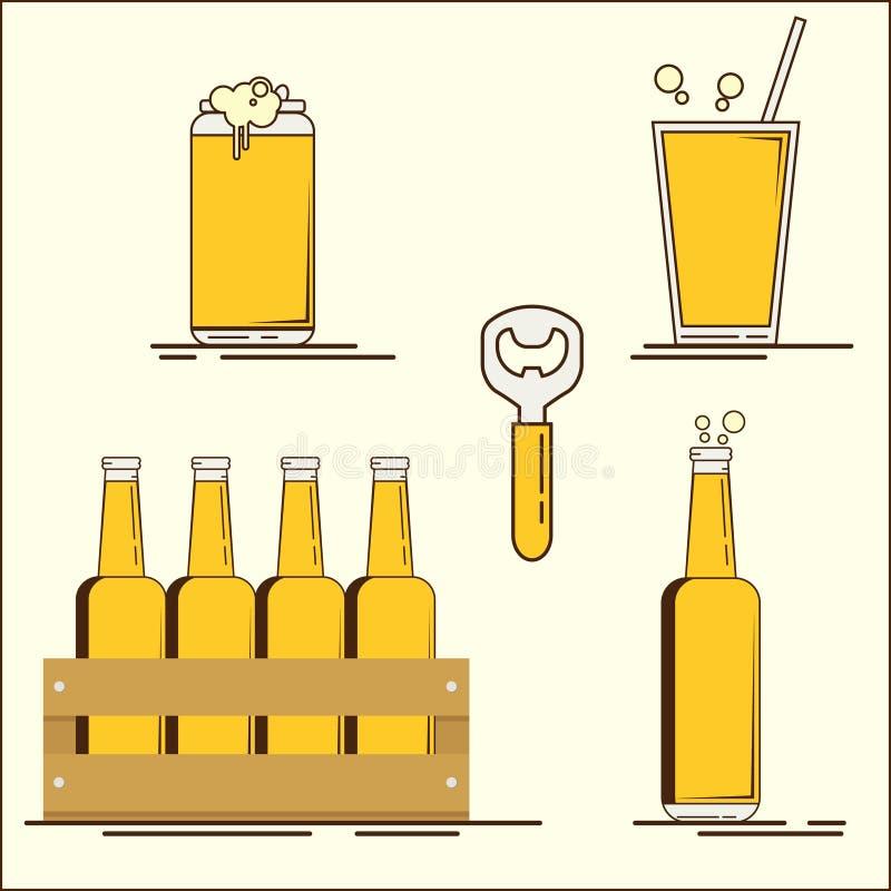 Grupo de Oktoberfest de ícones da cerveja lisa A garrafa de cerveja, pode, vidro, pinta Ilustração lisa do vetor Grupo simples de ilustração royalty free