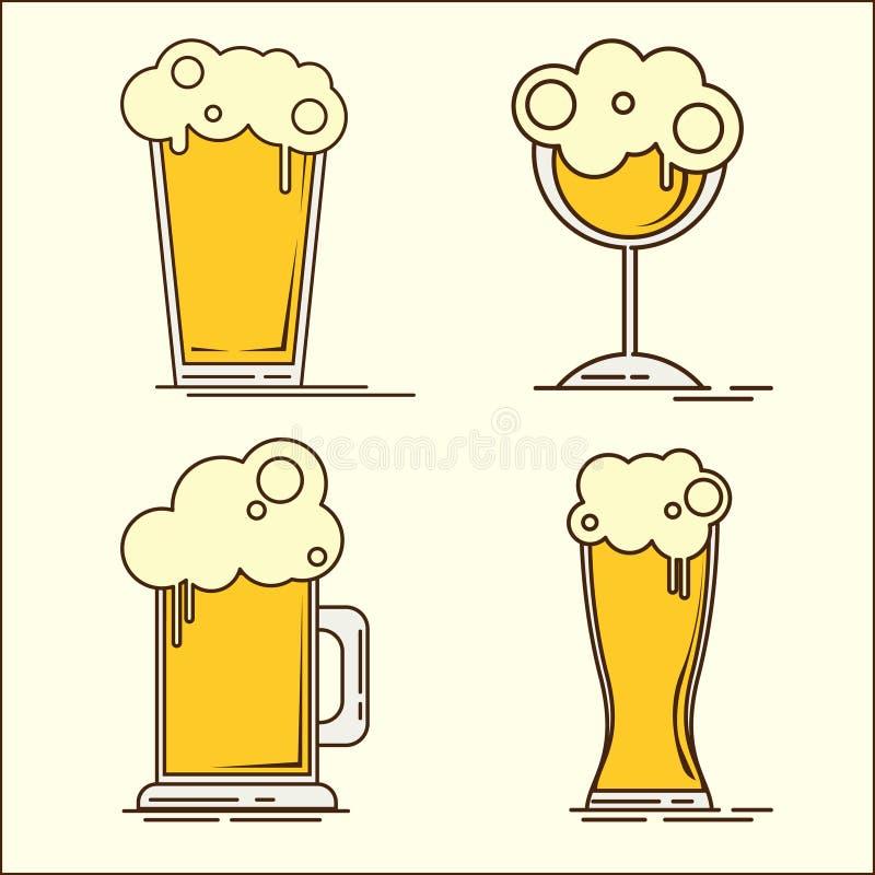 Grupo de Oktoberfest de ícones da cerveja lisa Garrafa de cerveja, vidro, pinta Ilustração lisa do vetor Grupo simples de ícones  ilustração stock