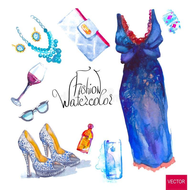 Grupo de olhar na moda, aquarela ilustração royalty free