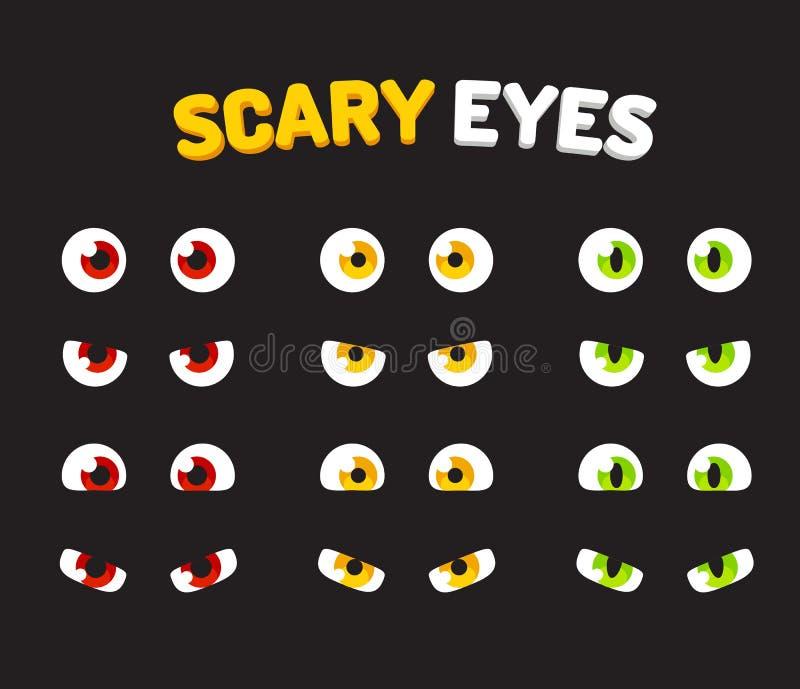 Grupo de olhos assustadores ilustração do vetor