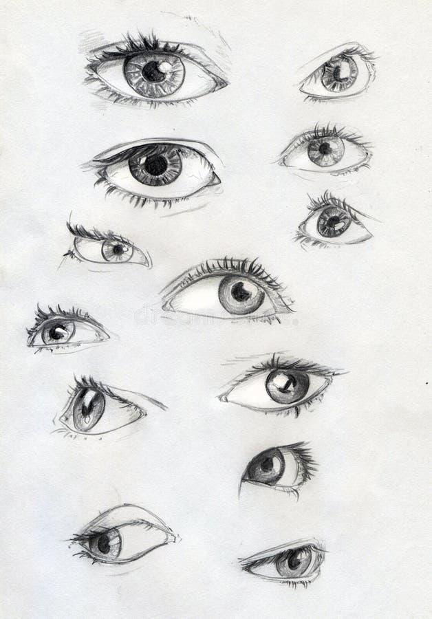 Grupo de olhos tirados lápis ilustração stock