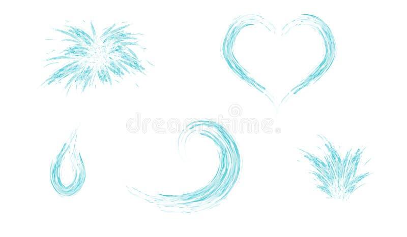 Grupo de onda e de gota do coração do respingo da água ilustração stock