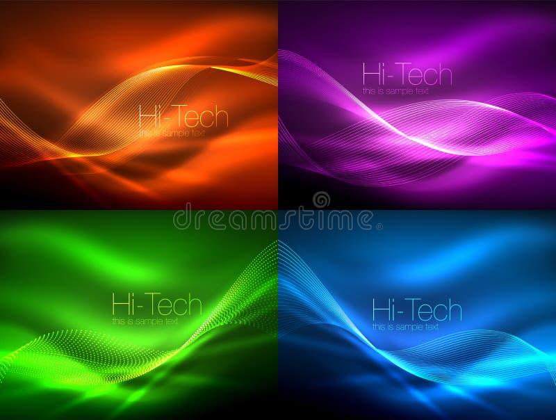 Grupo de ondas de fluxo do néon ilustração royalty free