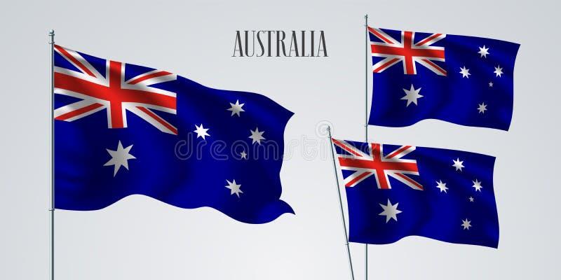 Grupo de ondulação da bandeira de Austrália de ilustração do vetor ilustração stock