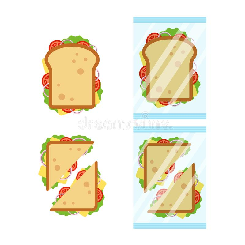 Grupo de opinião superior dos sanduíches com tomate, cebola, salada, queijo isolado no fundo branco Triângulo do sanduíche e ilustração royalty free