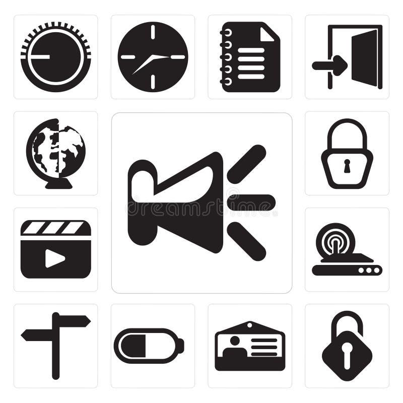 Grupo de orador, destravado, cartão da identificação, bateria, Internet sem fio, ilustração do vetor